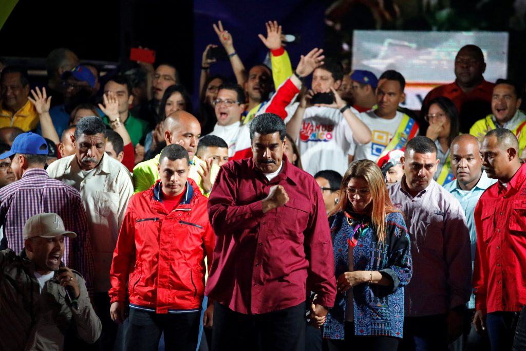 Venezuelan Maduro Celebrates Re-Election With Fireworks