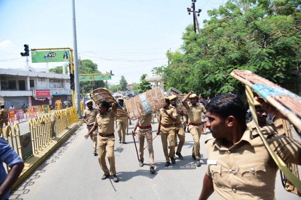 Scenes of protest for the 100th consecutive day in Thoothukudi against the Sterlite unit, May 22, 2018. Source: Author provided
