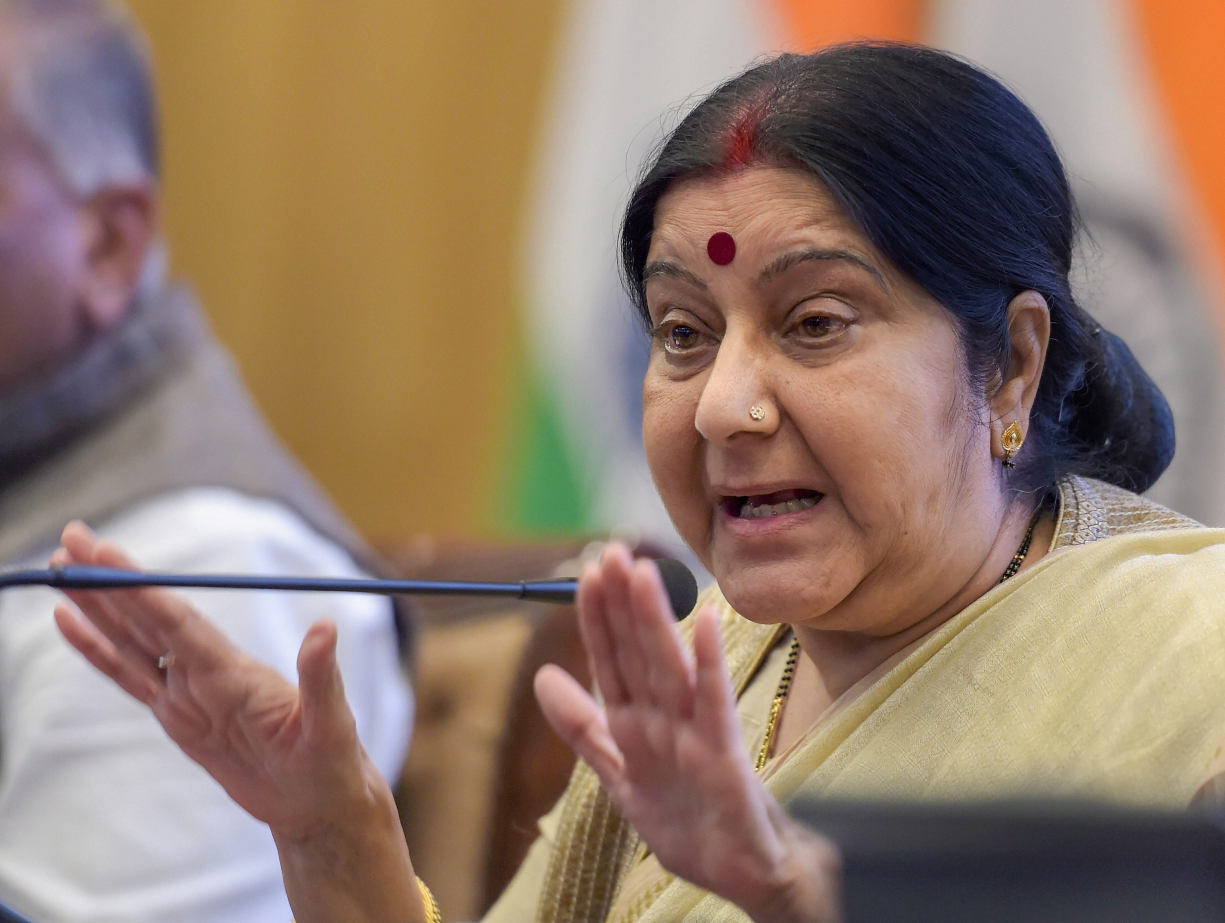 Swaraj Bristles at Charge of 'Outsourcing Policy to PMO', Talks Iran, Pakistan