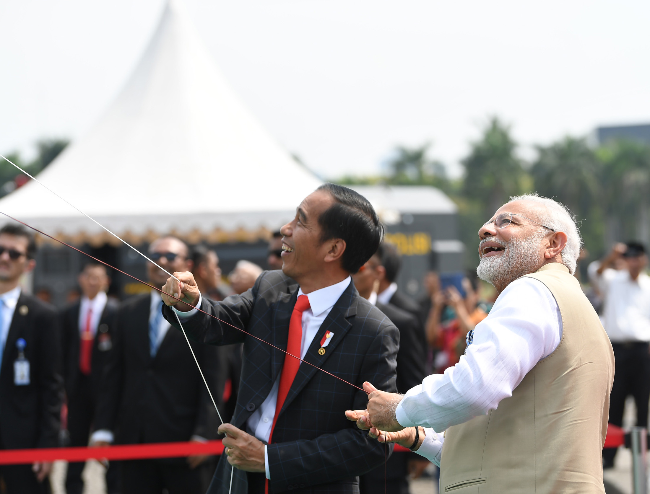 Prime Minister Narendra Modi and the President of Indonesia Joko Widodo attend the kite flying session, during the inauguration of the India-Indonesia Kite Exhibition, in Jakarta, Indonesia on May 30, 2018. Credit: PIB