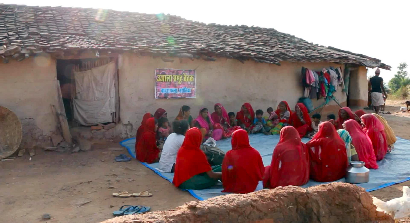 Women participating in a Ujala Samooh meeting in their village. Credit: Drishti Agarwal
