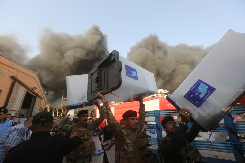 Iraq election: Fire at Baghdad ballot paper depot