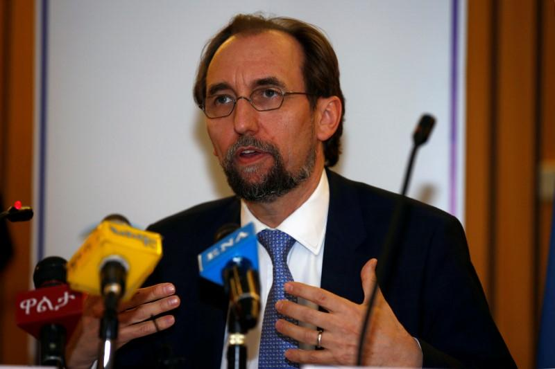 United Nations High Commissioner for Human Rights Zeid Ra'ad al-Hussein of Jordan address a news conference during his visit in Ethiopia's capital Addis Ababa, May 4, 2017. Credit: Reuters/Tiksa Negeri