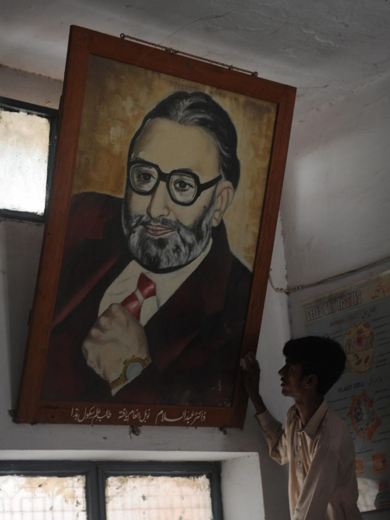 A portrait of Dr Abdus Salam at the primary school he attended in Jhang. Credit: M, Arif, White Star
