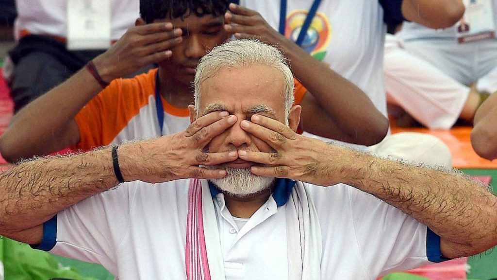 Prime Minister Narendra Modi doing yoga during the International Yoga Day, 2017. Credit: PTI