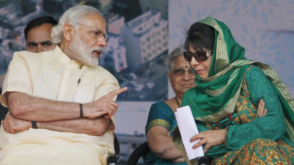 A file photo of Narendra Modi and Mehbooba Mufti. Credit: PTI