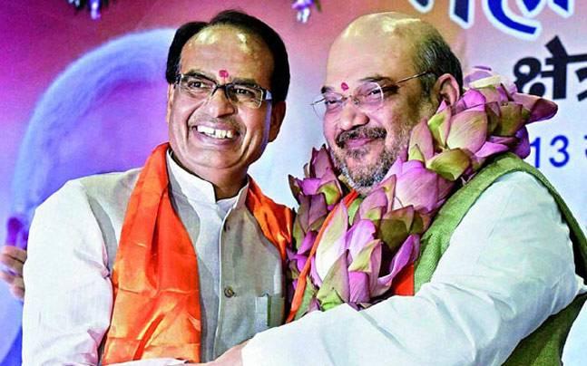 BJP chief Amit Shah with Shivraj Singh Chouhan. Credit: PTI