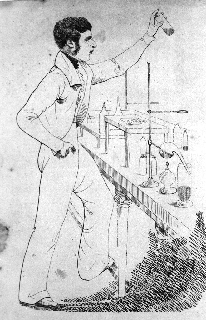 Illustration of W. B. O'Shaughnessy at work in the laboratory, artist and date unknown. Credit: US National Library of Medicine