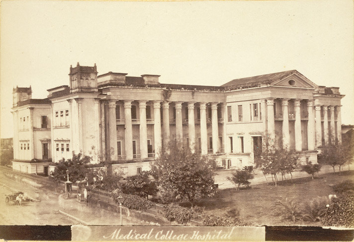 Photograph from 1878 of the Medical College Hospital, Calcutta, where O'Shaughnessy worked, although this picture shows a building completed in 1852, by which time he was working on the telegraph system. Credit: Wikimedia Commons