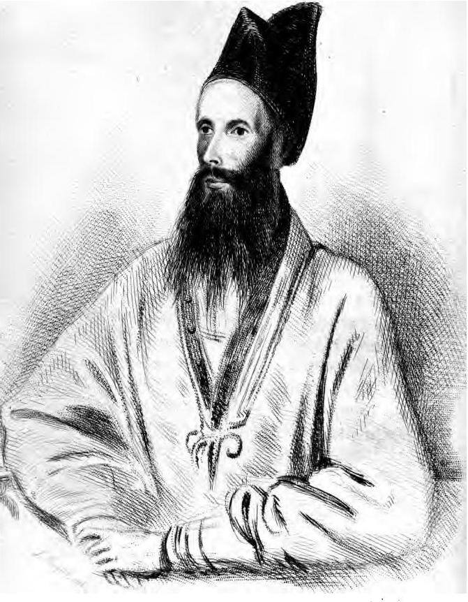 Portrait of Syed Keramut Ali, featured in Arthur Conolly's Journey to the North of India (1838). Credit: Journey to the North of India