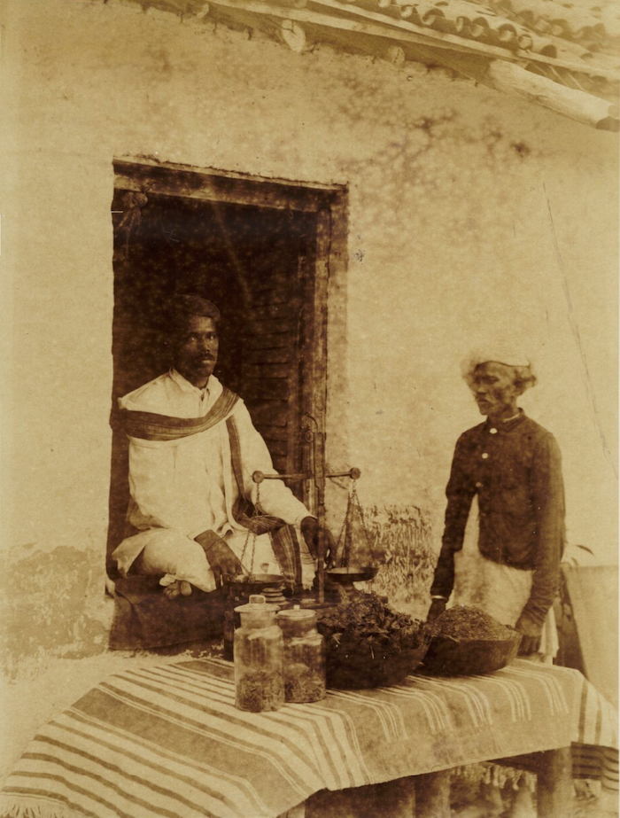 "Photograph of ""a hemp drug shop"" in Khandesh, with ""bhang, ganja, & majum"" for sale, featured as part of the Report of the Indian Hemp Drugs Commission, 1893-1894. Credit: Medical History of British India: Disease Prevention and Public Health"