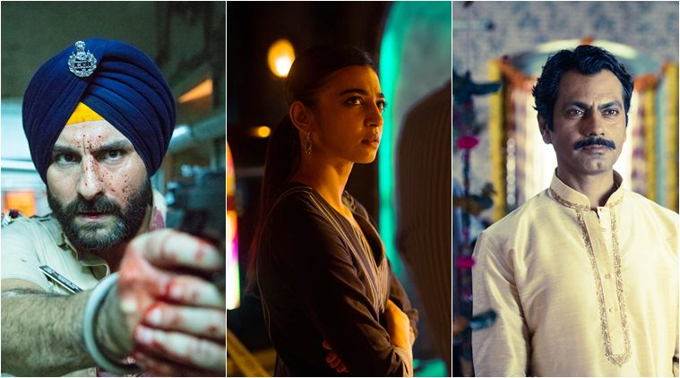 Saif Ali Khan Radhika Apte and Nawaazuddin Siddiqui in stills from the Netflix show