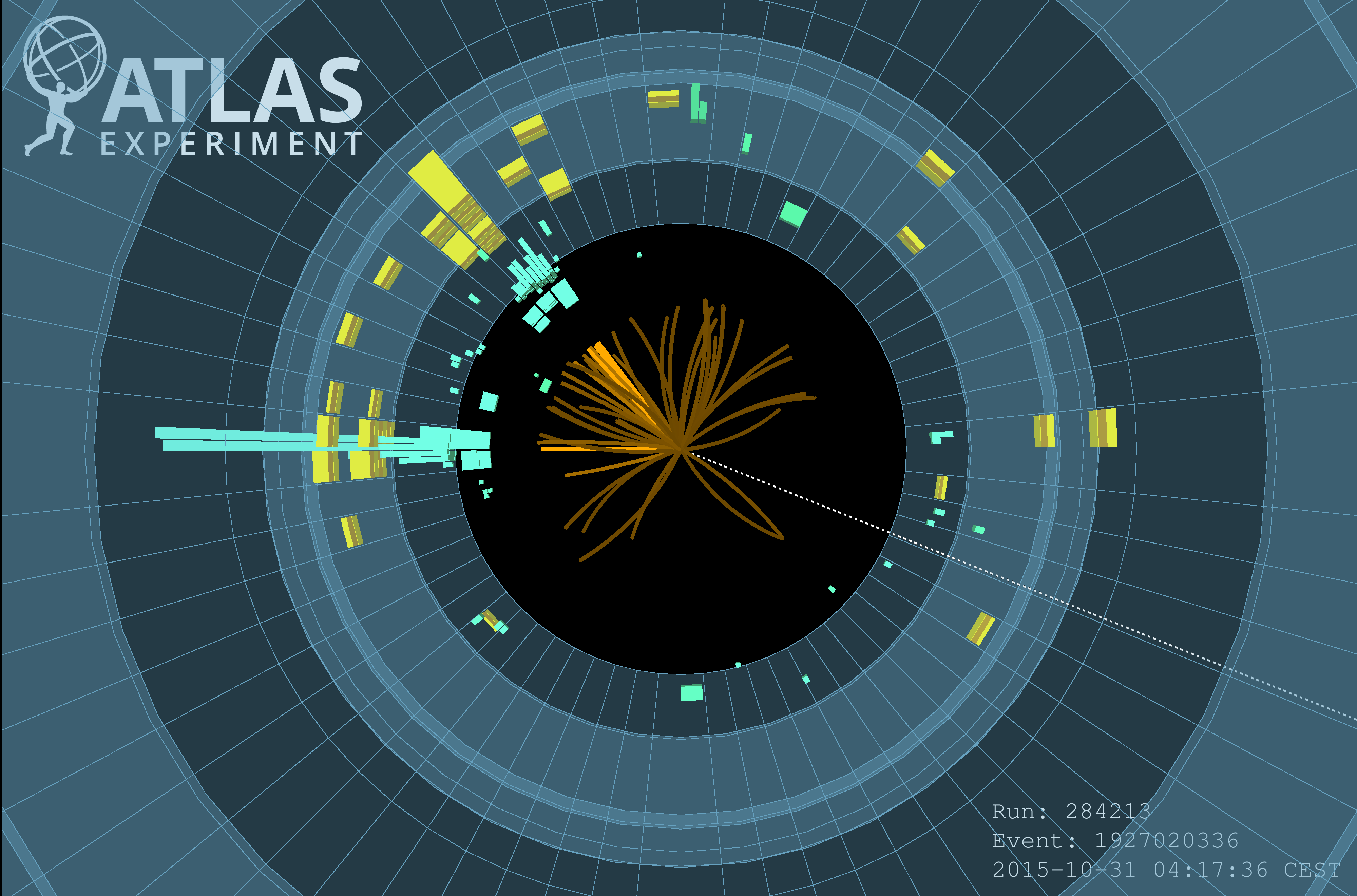Event display for the H→bb decay analysis with the ATLAS detector. Credit: ATLAS Collaboration/CERN