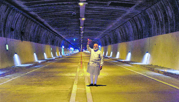 Prime Minister Narendra Modi waves after inaugurating the Chenani-Nashri tunnel, 2017. Credit: PTI