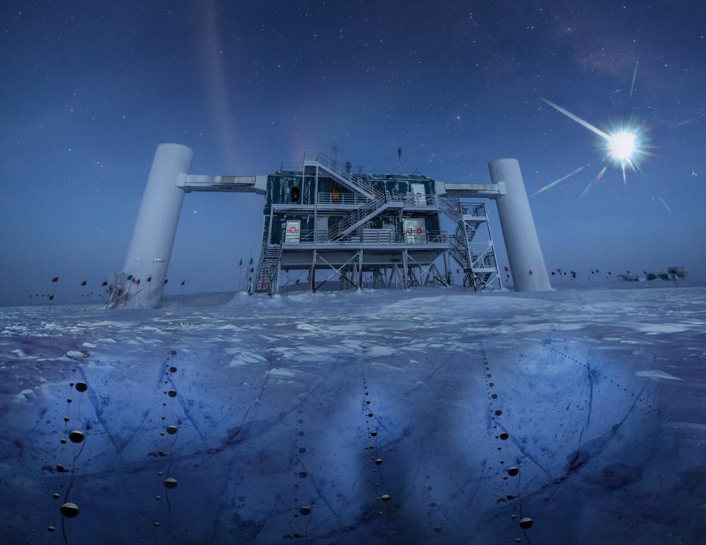 In this artistic composition, based on a real image of the IceCube Lab at the south pole, a distant source emits neutrinos that are detected below the ice by IceCube sensors. Credit: IceCube Collaboration/NSF