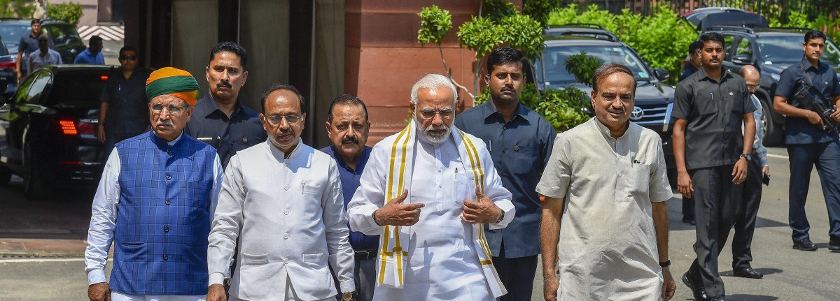 Prime Minister Narendra Modi outside parliament on Thursday. Credit: PTI