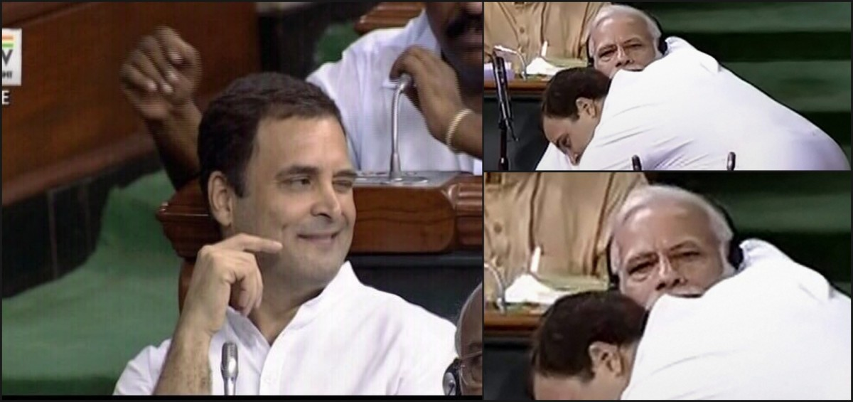Rahul Gandhi hugging Narendra Modi, and winking afterwards. Credit: PTI