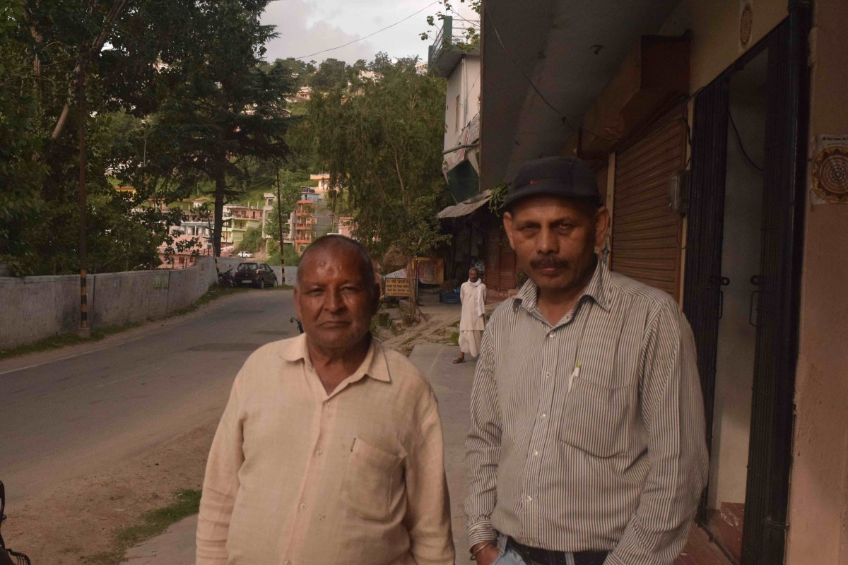 D.K. Pandey and Mahesh Kandpal on Lower Mall Road in Almora.