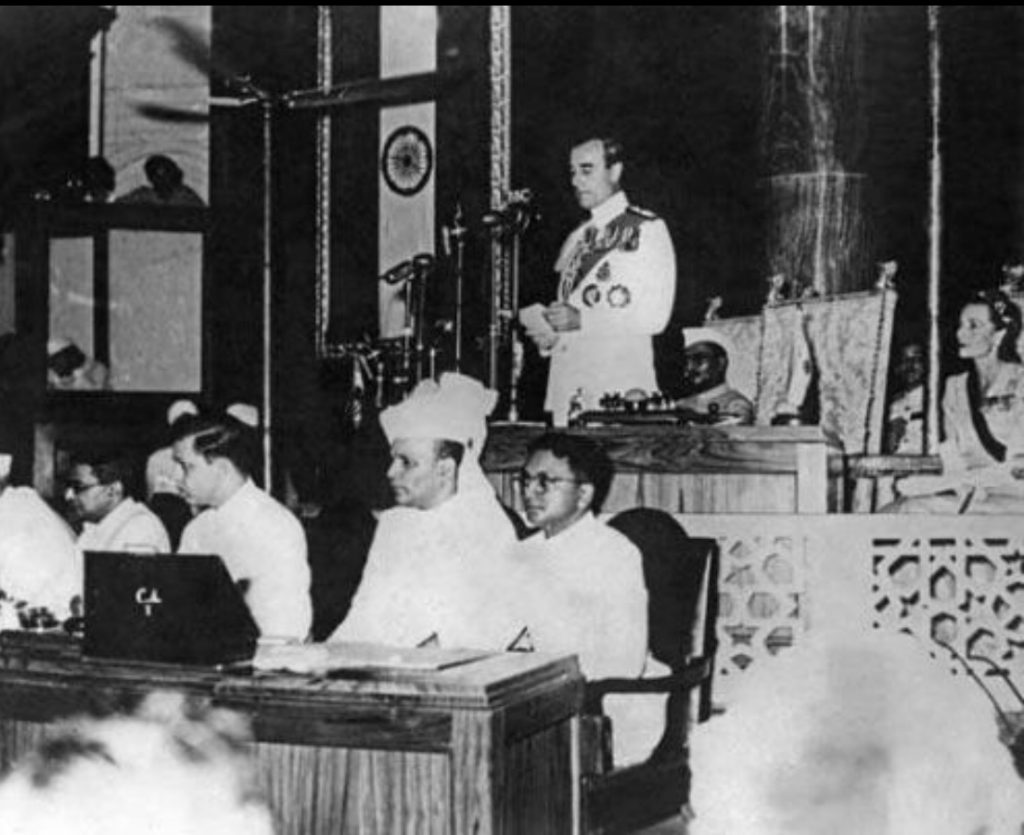 Badruddin Tyabji (wearing white turban) at the Constituent Assembly session. Credit: Author provided