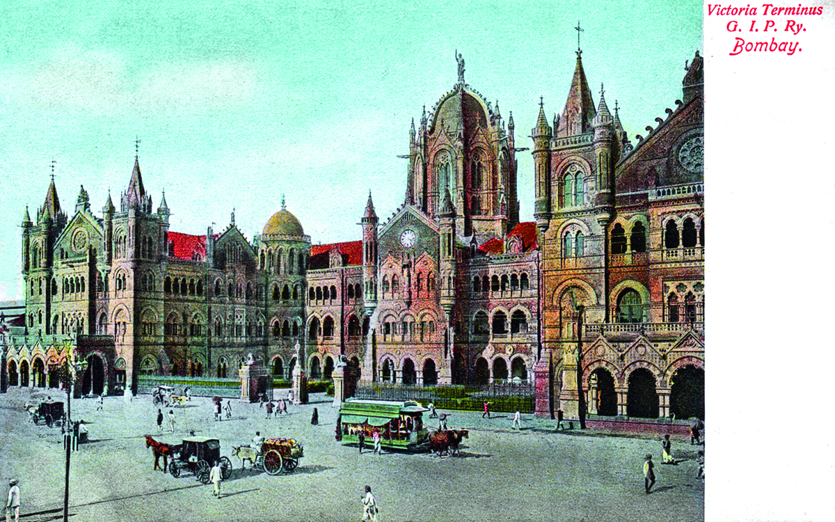 'Victoria Terminus G.I.P. Ry. [Railway] Bombay'. G.B.V. Ghoni, Bombay, 1899. Coloured halftone, Undivided back, 13.75 x 8.65 cm, 5.41 x 3.41 in.