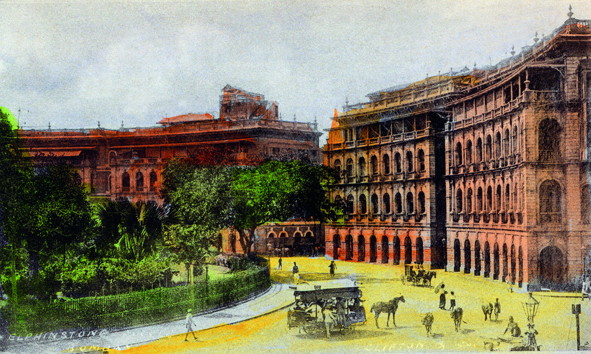 <em>Elphinstone Circle, Bombay</em>. Clifton & Co., c. 1903. Handcoloured collotype, Undivided back, 12.1 x 8.8 cm, 4.76 x 3.46 in.