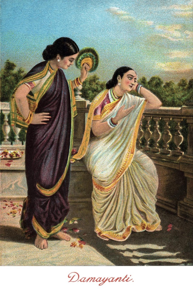 <em>Damayanti</em>. The Ravi Varma Press Karla Series No. #830, c. 1905. Coloured halftone, Divided back, 13.6 x 8.6 cm, 5.35 x 3.39 in.