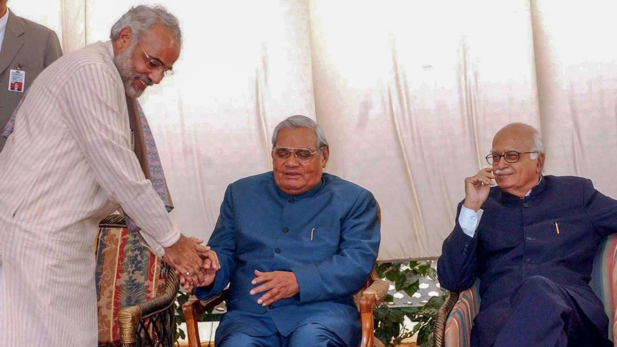 Narendra Modi, A.B. Vajpayee and L.K. Advani. Credit: PTI/Files