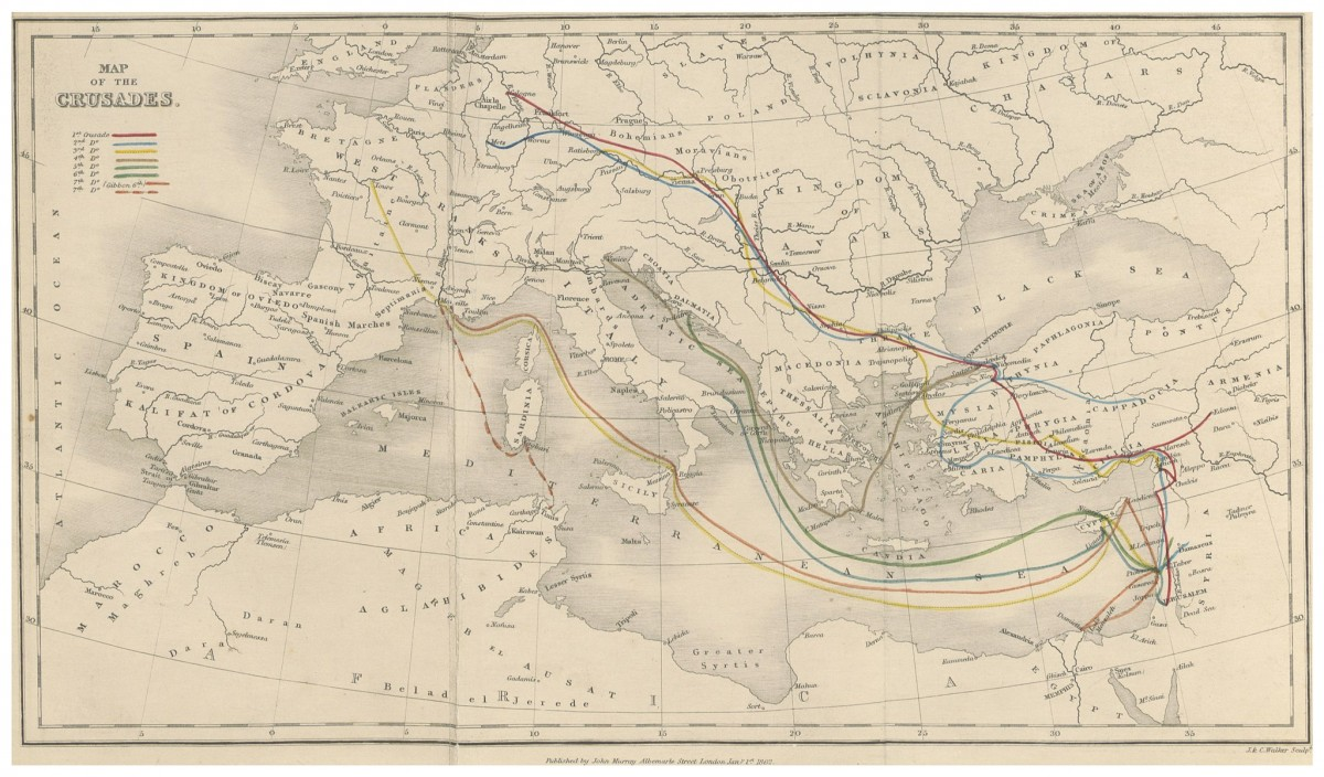 An old map depicting the 'Crusades', from <em>The History of the Decline and Fall of the Roman Empire</em> edited by Edward Gibbon. Credit: Wikimedia Commons/British Library