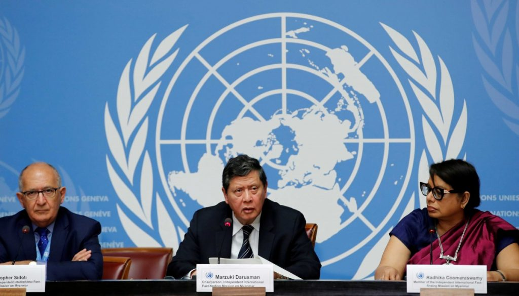 (L-R) Christopher Sidoti, Marzuki Darusman and Radhika Coomaraswamy, members of the Independent International Fact-finding Mission on Myanmar attend a news conference on the publication of its final written report at the United Nations in Geneva, Switzerland, August 27, 2018. Credits: Reuters/Denis Balibouse