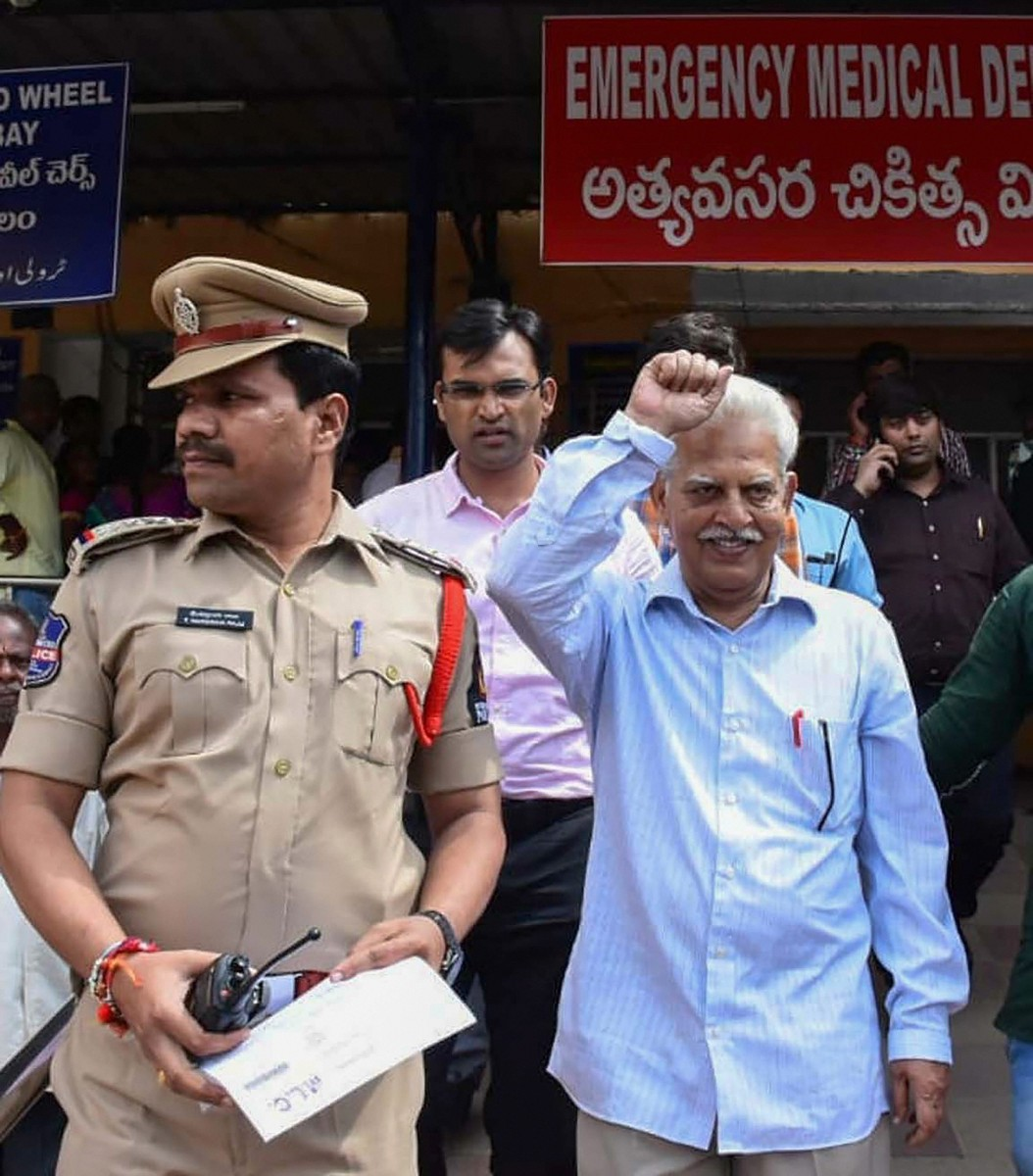 Varavara Rao being taken away by the police on Tuesday. Credit: PTI