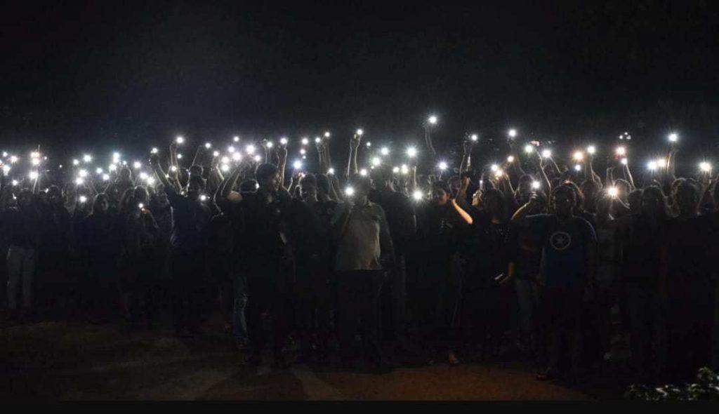 Students protesting at HNLU. Credit: Special arrangement