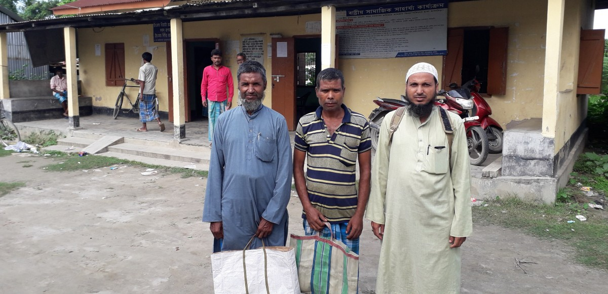 (L-R) Mubarak, Abdul Mazid and Sydur Rahman at the NSK Seva Kendra in Goroimari.