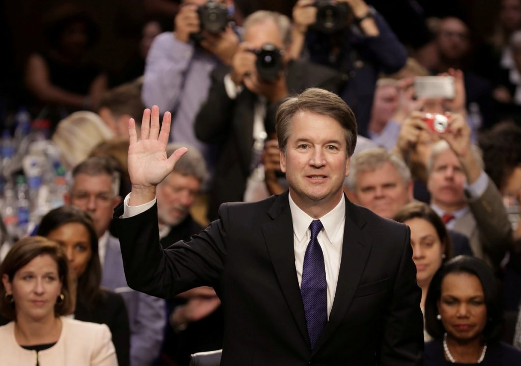 Supreme Court nominee Judge Brett Kavanaugh is sworn in before the Senate Judiciary Committee during his Supreme Court confirmation hearing in the Hart Senate Office Building on Capitol Hill in Washington, DC, U.S., September 4, 2018. Chip Somodevilla/Pool Credits: Reuters