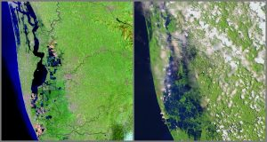 Kerala before (left) and right after (right) the 2018 floods, as captured by Landsat 8. Credit: NASA