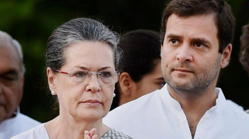 Congress Leader Sonia Gandhi and son Rahul Gandhi. Credit: PTI