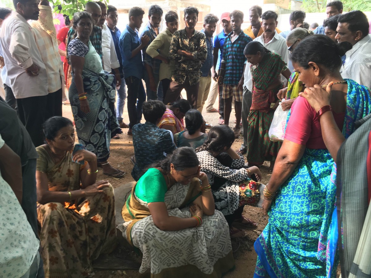 Family members mourning after Perumalla Pranay's murder. Credit: B. Kartheek