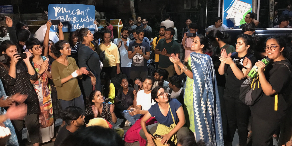 Delhi University's Women Students Protest Against Restrictive Curfew Timings