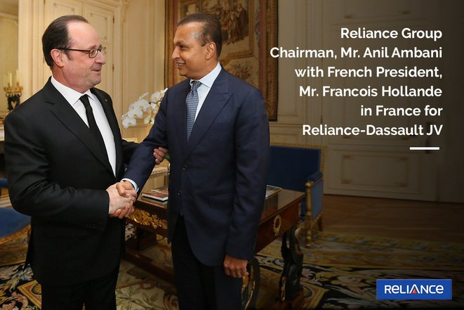 "A Reliance group PR photo of François Hollande (left) meeting with Anil Ambani at the Eysée Palace in January 2017: Hollande told Mediapart he had known ""nothing"" about the Reliance Group. Credit: Reliance"