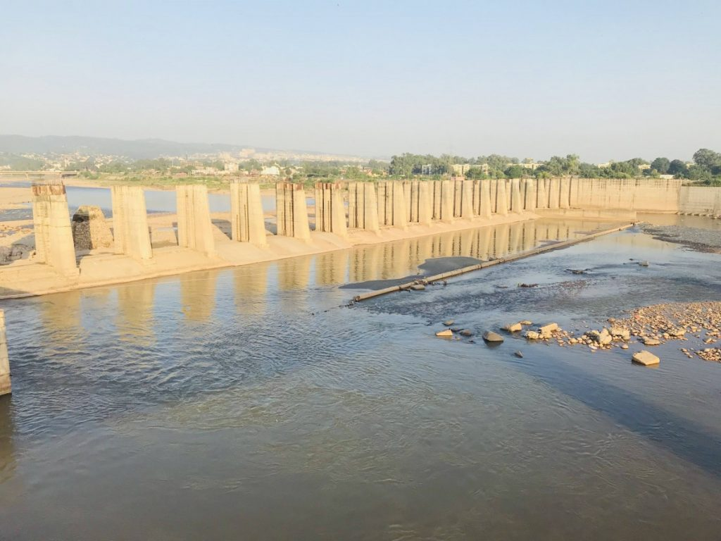 In 2012, a project was launched to build a barrage on the Tawi but it remains incomplete. Credit: Nidhi Jamwal