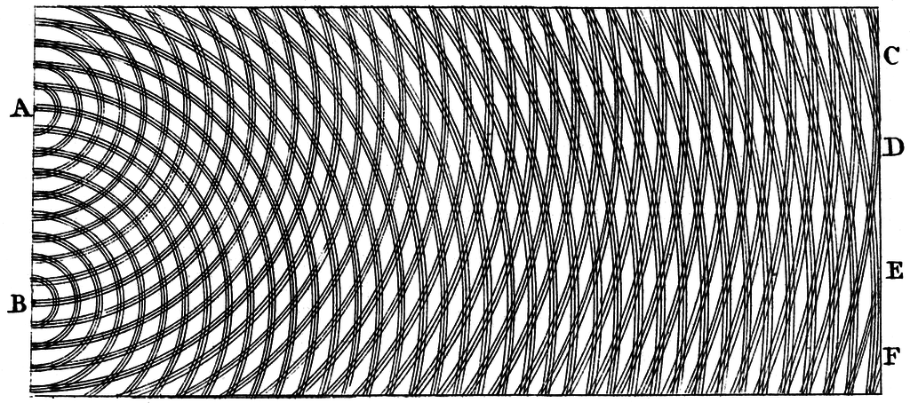 Thomas Young's sketch of two-slit diffraction of waves, 1803. Caption and credit: Wikimedia Commons