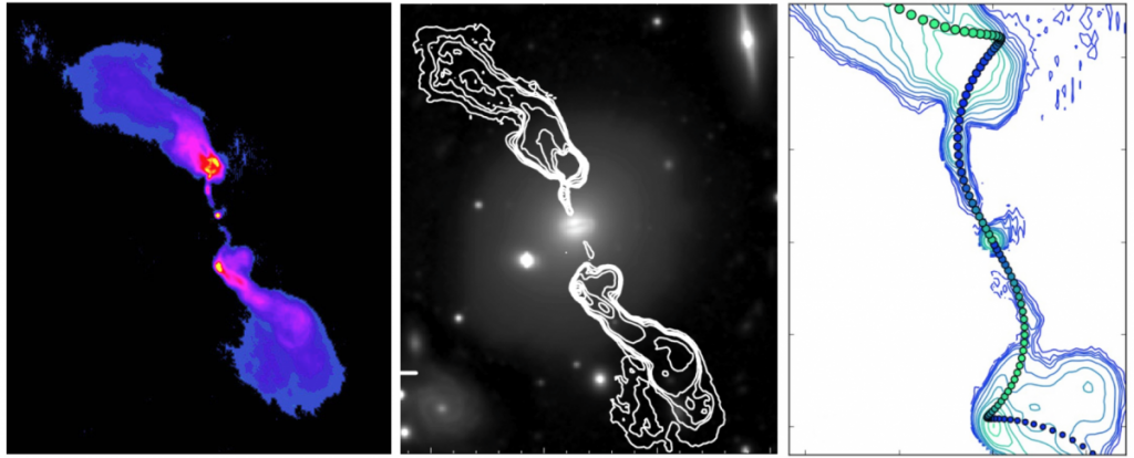 False-colour image of the weak jet emanating from the 'Hydra A' galaxy as observed in radio wavelengths (left, from Chandra X-Ray Observatory). Radio map of the jet observations depicting the jet morphology (middle, Fujita et al, 2013). The well modelled jet path by computer simulations suggesting observable precession effects in real radio sources (right, from the present study).