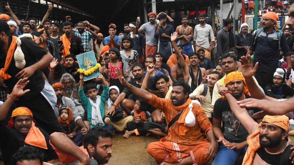 A previous protest over Sabarimala issue. Credit: PTI