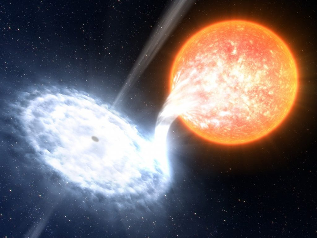An artist's illustration of a black hole accreting matter from a companion star. Credit: ESO/L. Calçada