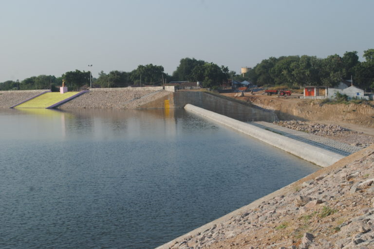 A tank renovated with embankments and spillway. Credit: Meena Menon.