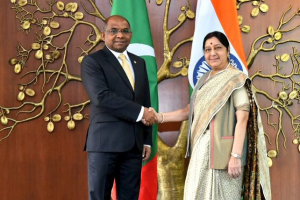 Sushma Swaraj Meets Maldivian Foreign Minister to 'Deepen' a 'Vital Relationship'