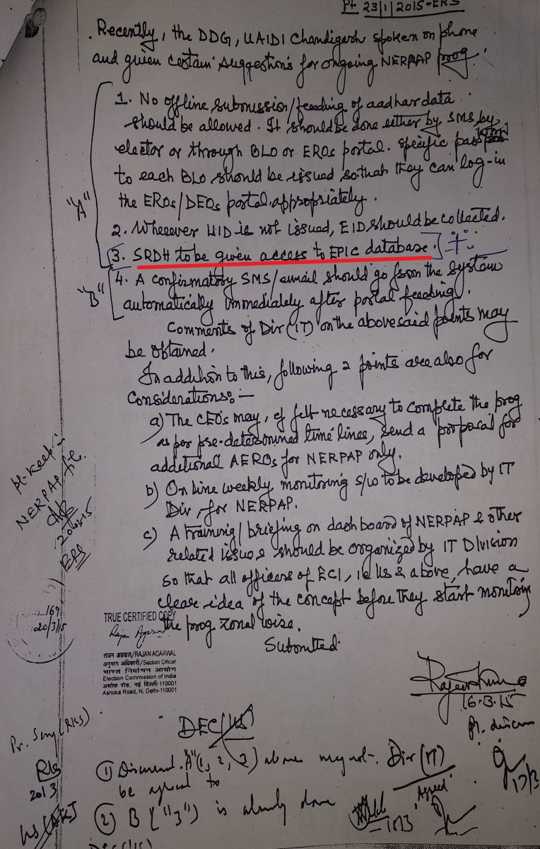 A copy of the handwritten note from the UIDAI to the EC. Credit: The Wire