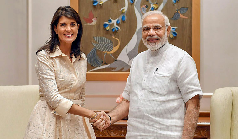 Prime Minister Narendra Modi with the US Ambassador to United Nations Nikki Haley in New Delhi. Credit PTI