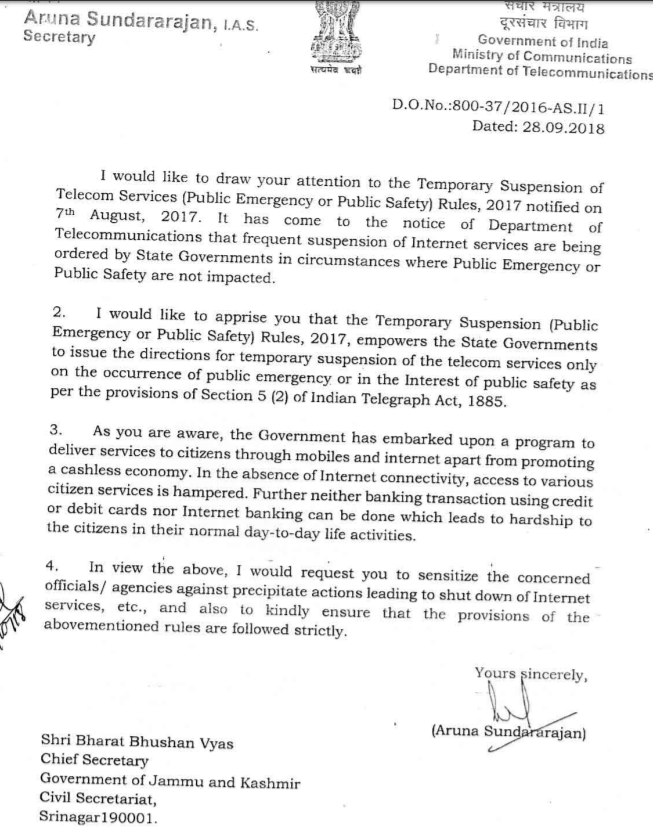 A copy of the DoT letter sent to Jammu and Kashmir government. Credit: Internet Freedom Foundation.