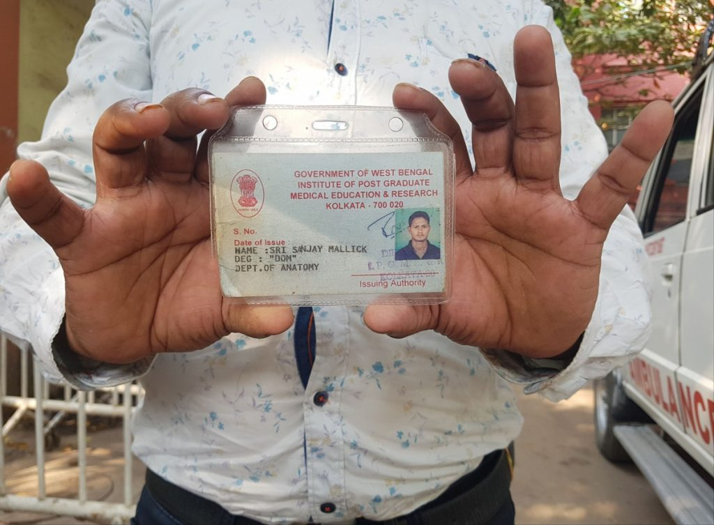Sanjay Mallick's identity card, issued by the government hospital in Kolkata. Note the second line: it says designation (DEG) DOM. Credit: Sohini C