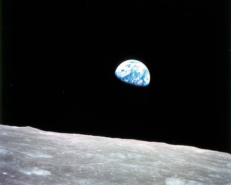 Earthrise: astronauts aboard Apollo 8 captured this spectacular photo of Earth rising above the lunar horizon as they emerged from behind the dark side of the Moon. Credit: NASA